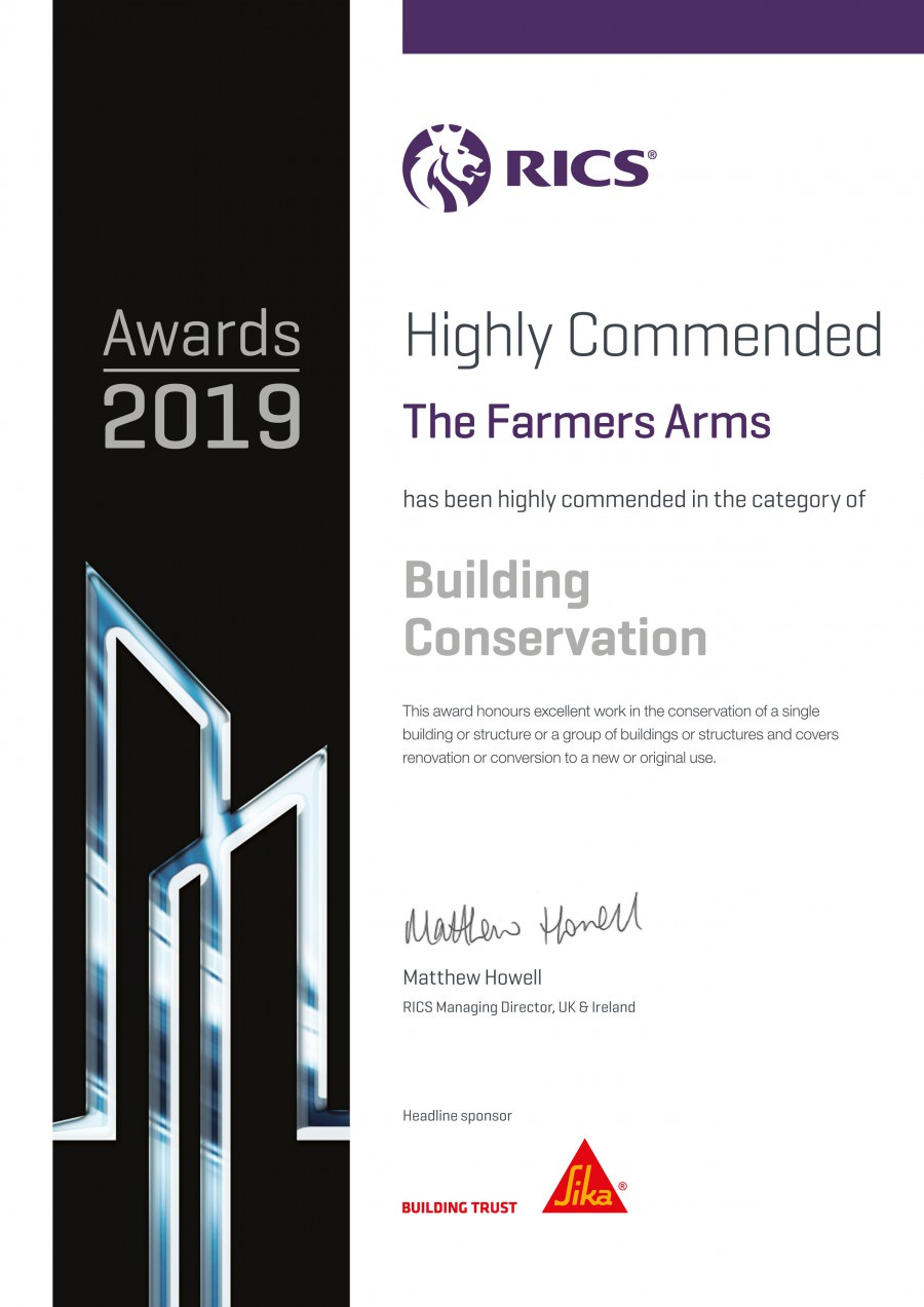 Awards 2019 RICS Farmers Arms Highly Commended Certificate