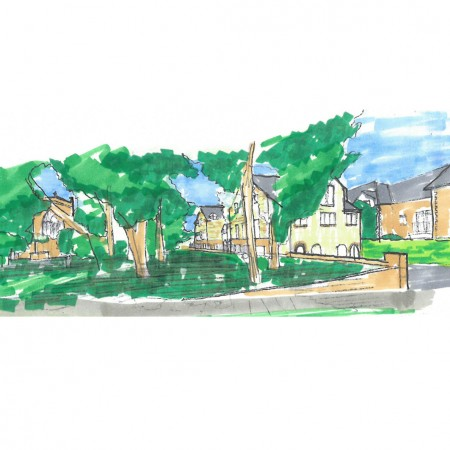 Corfield almshouse south west sketch of churchyard v3