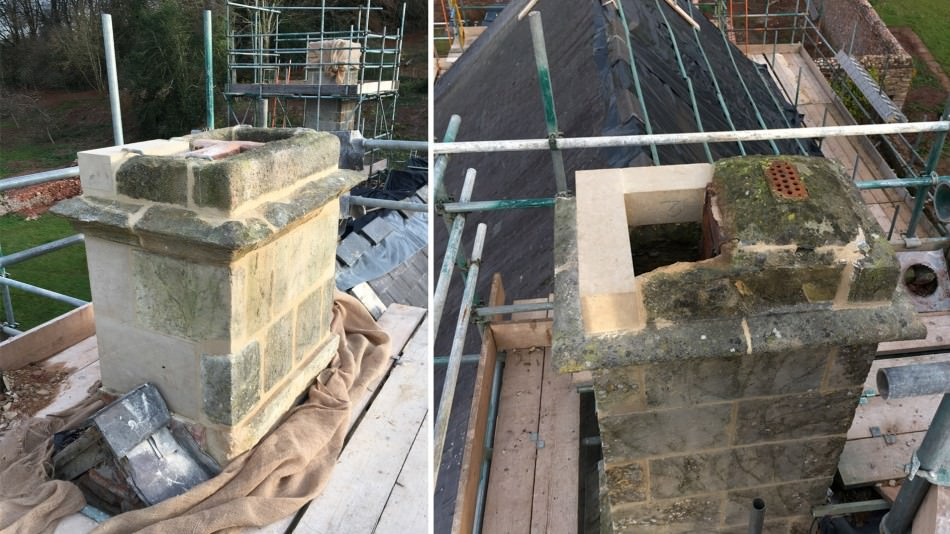 Manor house restoration chimney stone repair