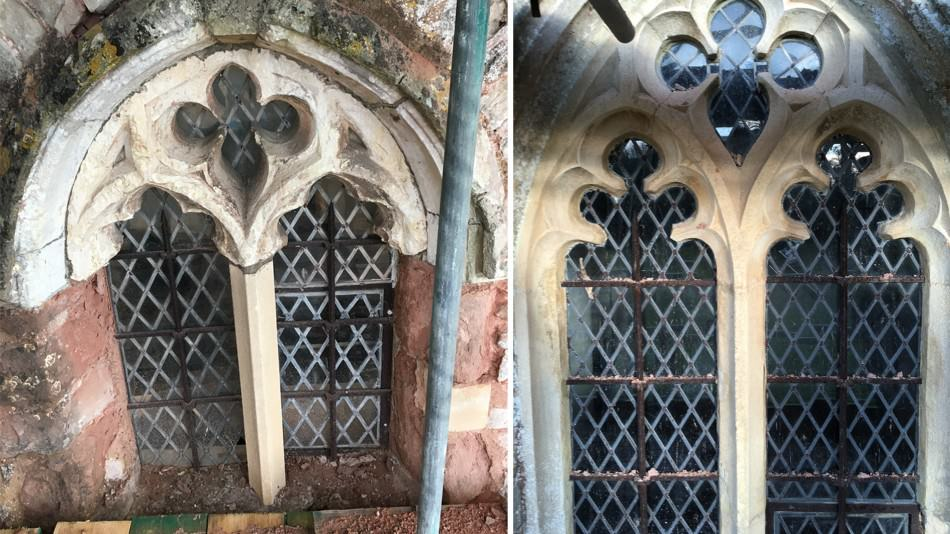 Manor house restoration window tracery repair