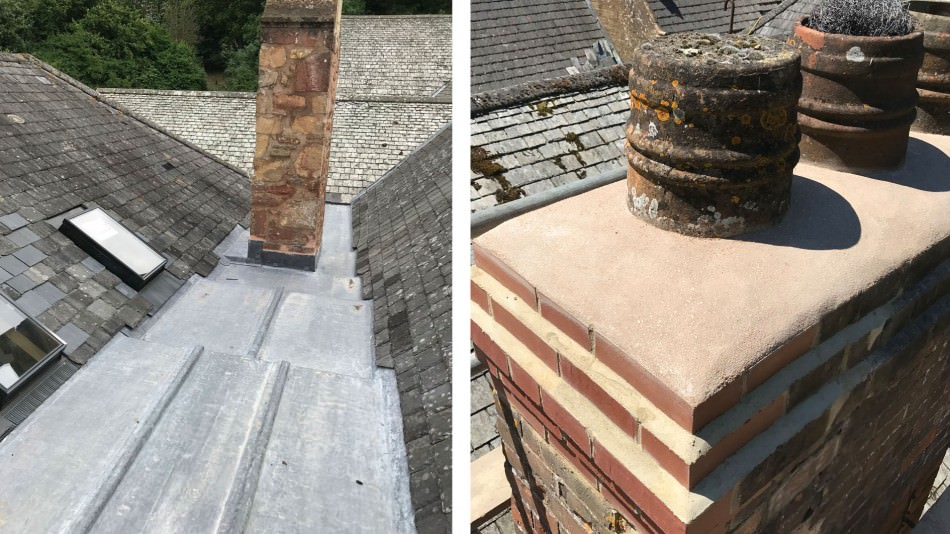 halsway conservation roof rebuilt chimney rooflights leadwork